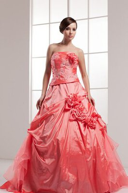 Pick Up Ärmelloses Duchesse-Linie Quinceanera Kleid mit Blume mit Applikation