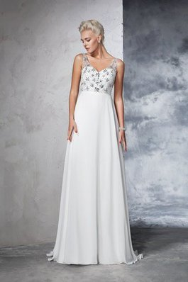Empire Taille Sweep Train V-Ausschnitt A-Line Chiffon Brautkleid