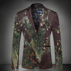Mens Fashion Print Blazer Masculino Slim Fit Blazer Hombre