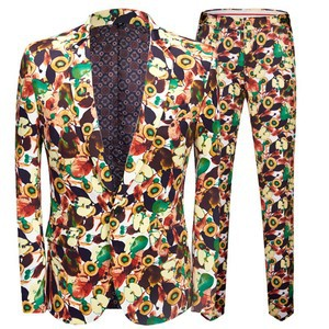 Party Kleid Floral Slim Fit Bankett Smoking Anzüge Homme