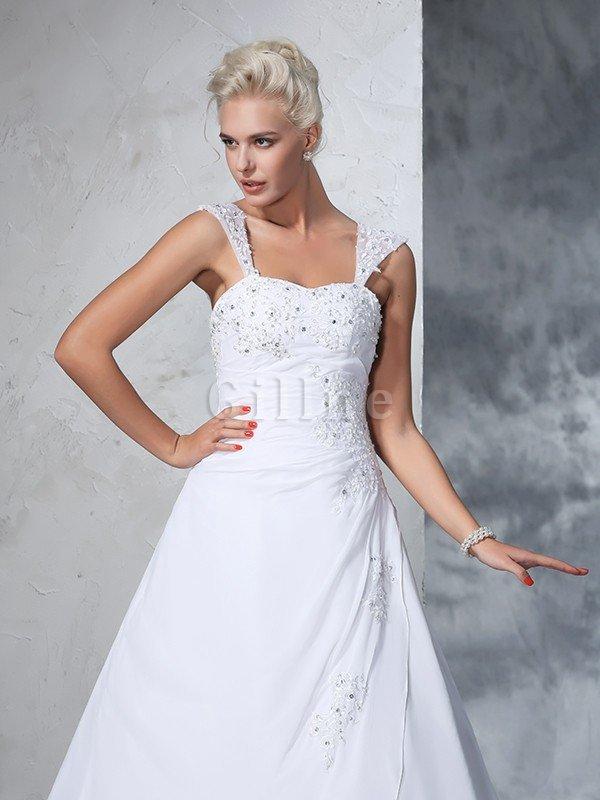 Ärmellos Gericht Schleppe Empire Taille Brautkleid mit Applike aus ...