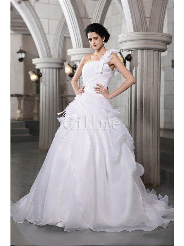 Ein Schulter Empire Taille Organza Brautkleid mit Plissierungen mit ...