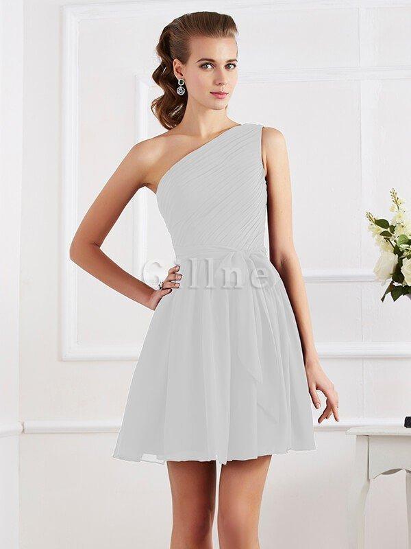 Ein Schulterfreies Chiffon A-Line Mini Brautjungfernkleid ohne ...