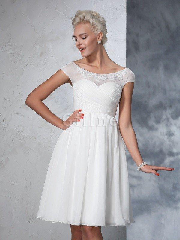 Kurze Ärmeln Prinzessin A-Linie Empire Taille Mini Brautkleid ...