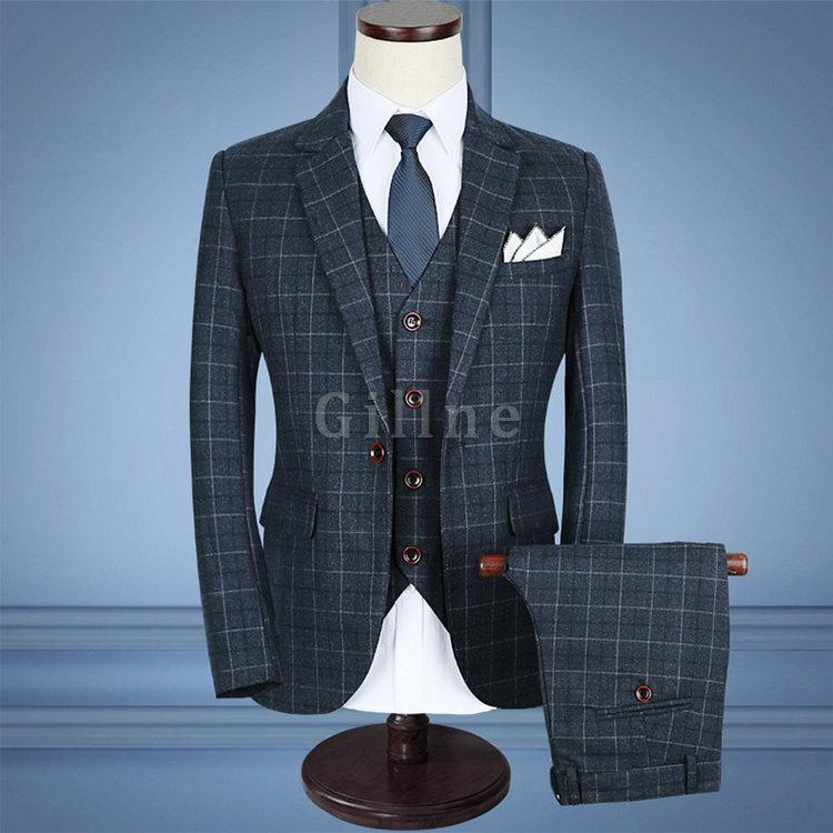 Blau Hochzeit Kleid Marke Qualität Grau Anzüge Männer ...